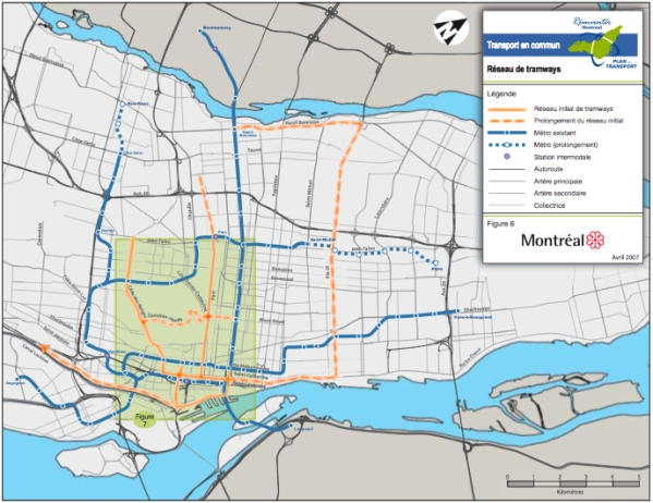 Proposed Tramway Network developed by the City of Montral in 2007