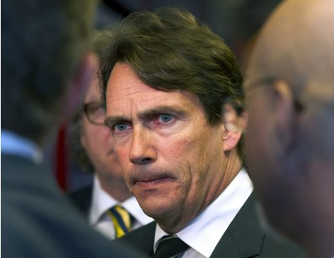 Pierre-Karl Péladeau during a press scrum - credit to Toronto Star