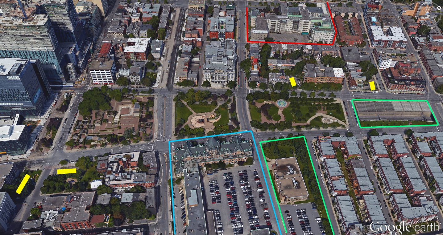 Light Blue represents the Gare Viger project, red the abandoned religious property, light green to areas for priority redevelopment, and yellow indicates smaller parcels of land that could be better used.