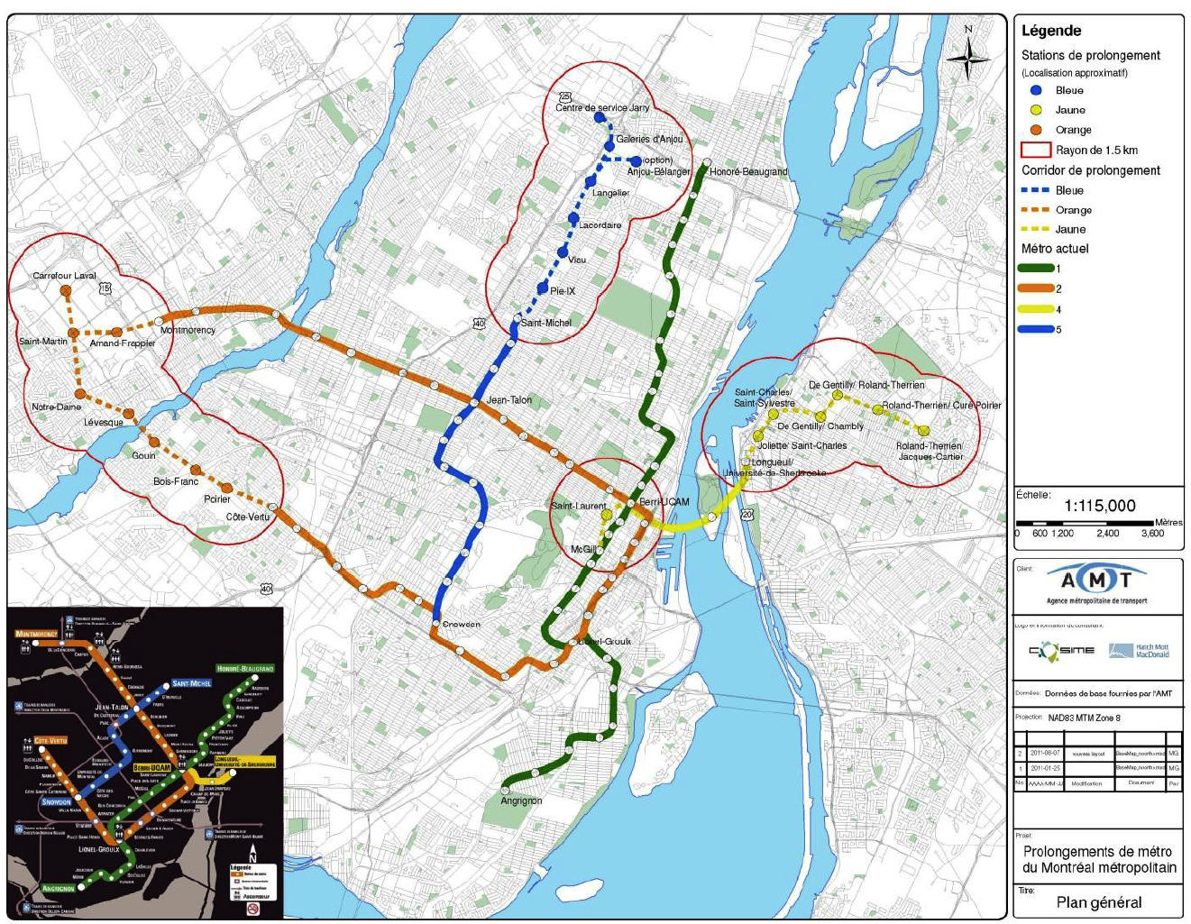 This extension map was proposed by the AMT several years ago. It demonstrates extensions further into Laval, Longueuil and the East End