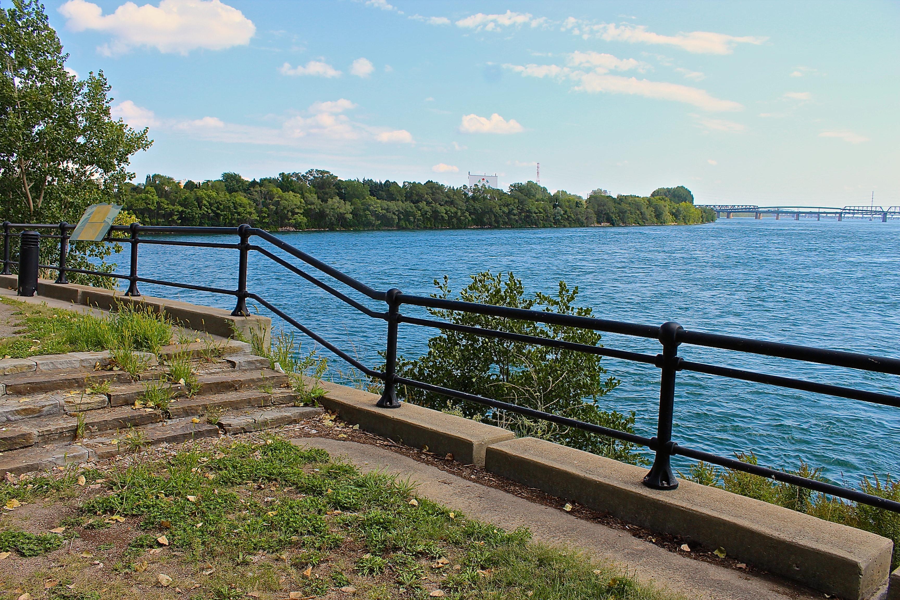 Derelict riverside park near Place des Nations